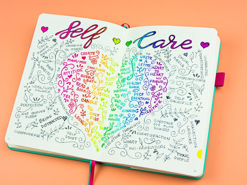 Make this fun and easy rainbow self-care spread to inspire your journaling