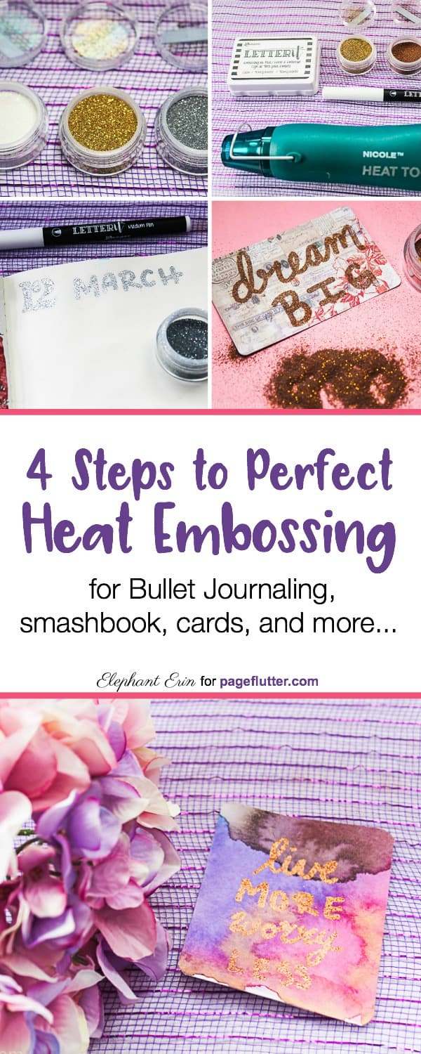Try heat embossing to jazz up Bullet Journal headers, cards, scrapbooking, and more.