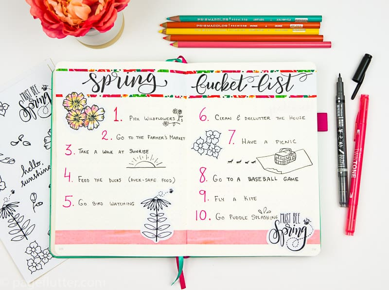 15 Printable Floral Planner Stickers to Beautify Your Entire Routine-1 | Spring Bucket List pages with floral stickers | pageflutter.com