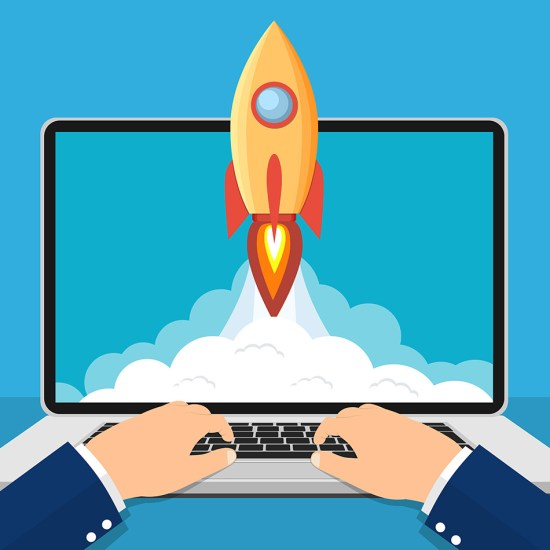 Successful startup business concept. Laptop with Rocket Start up concept. Business Project development. Vector illustration in flat style