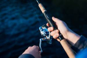 photo of person holding fishing rod