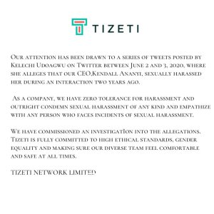 A lady named Kelechi Udoagwu has accused the CEO of an internet network company, Tizeti Network Limited, Kendall Ananyi of sexually