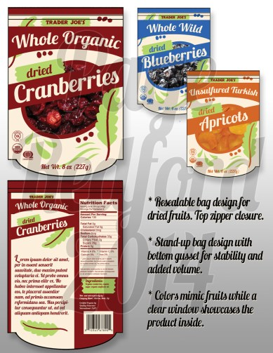 Dried fruit packaging design. Photoshop