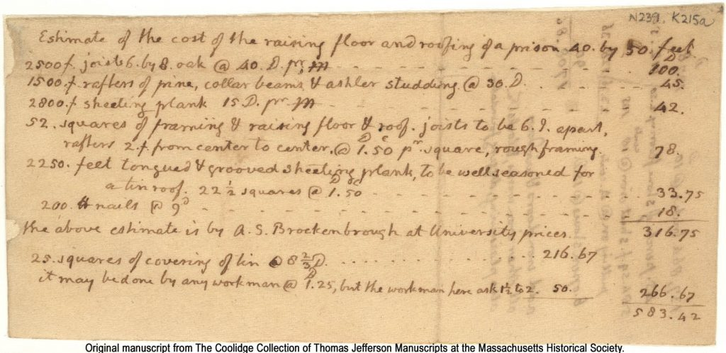 Original manuscript from The Coolidge Collection of Thomas Jefferson Manuscripts at the Massachusetts Historical Society.