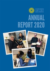 Annual Report cover with a collage of three photos
