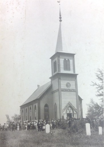 Congregation at Holden's first church building.