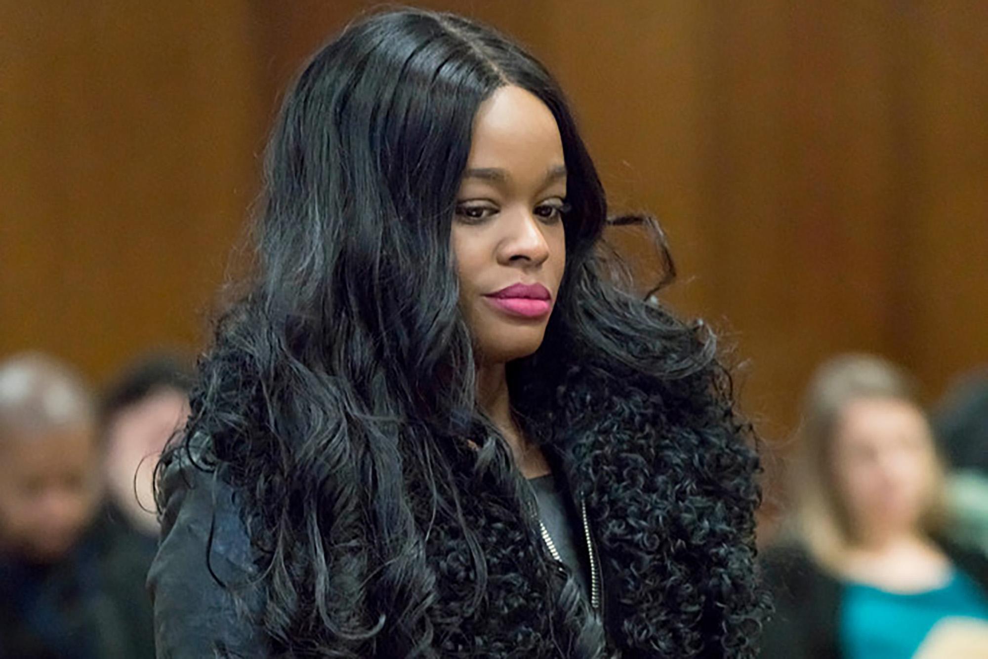 Azealia Banks behaves during 'boob bite' guilty plea