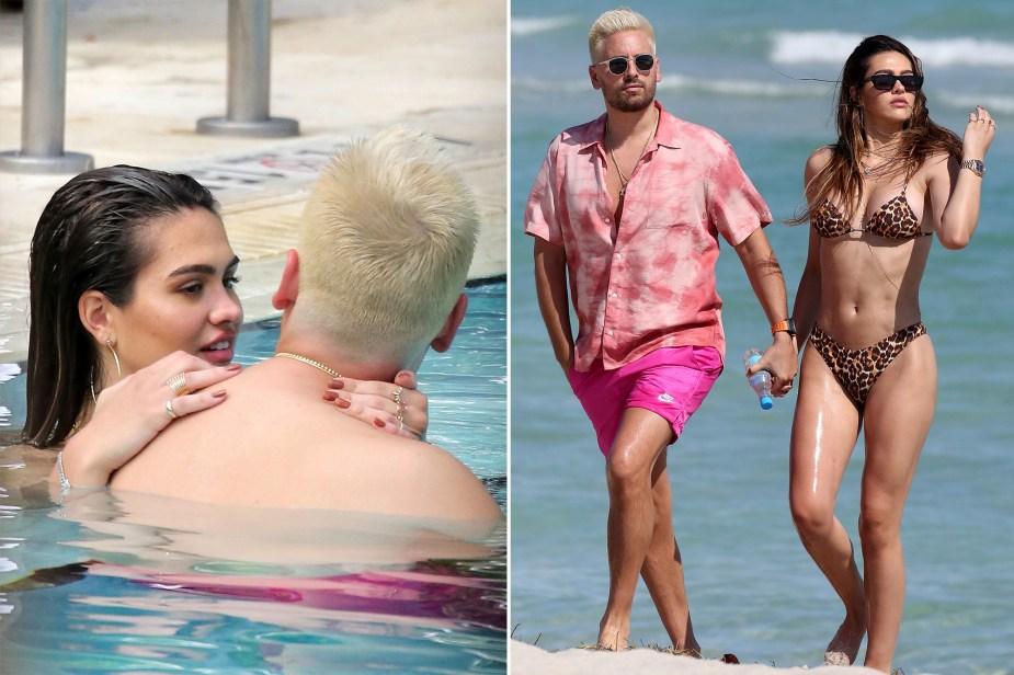 Newly blond Scott Disick enjoys beach date with bikini-clad Amelia Hamlin