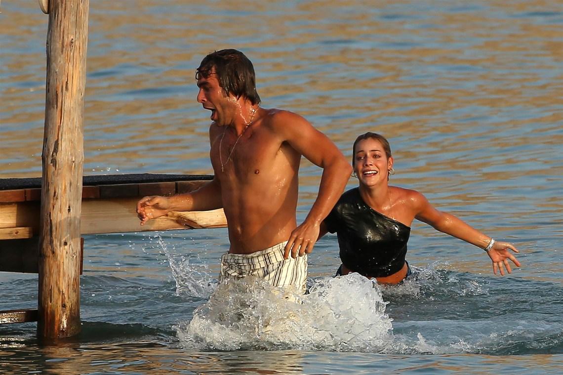 *PREMIUM-EXCLUSIVE* Sebastian Stan and girlfriend Alejandra Onieva enjoy a day of swimming with Jon Kortajarena!