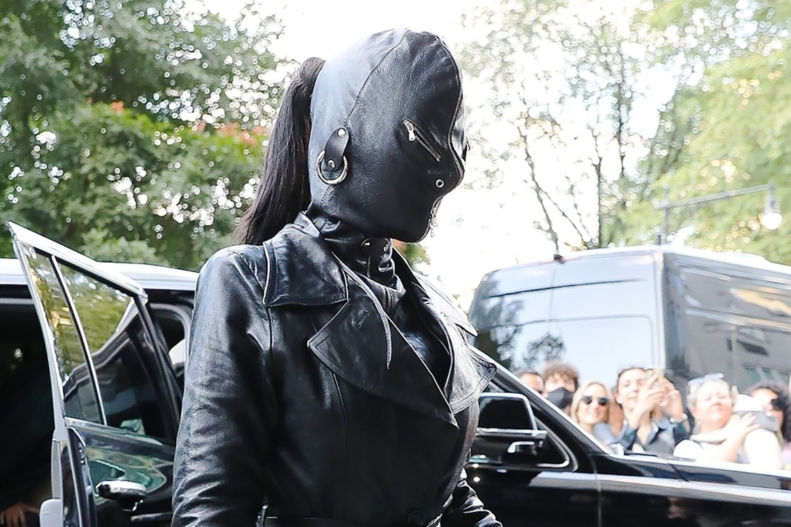 Kim Kardashian sports an all-leather outfit on her way to the Ritz-Carlton Hotel in Central Park South.