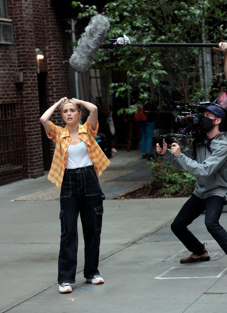 EXCLUSIVE: Zoey Deutch is seen on the set of 'Not Okay'