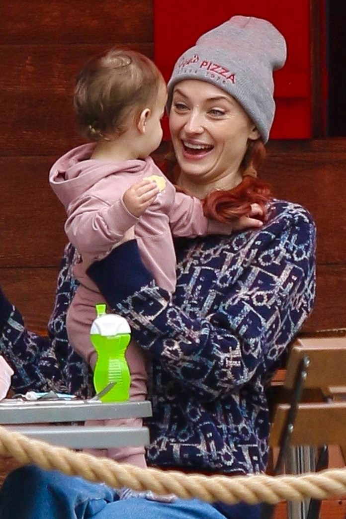 *EXCLUSIVE* Sophie Turner and her baby girl are picture-perfect while enjoying lunch in NYC!