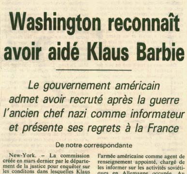 Washington reconna�t avoir aid� Klaus Barbie