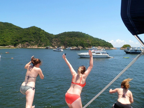 Jumping off a junk boat into the sea in Hong Kong