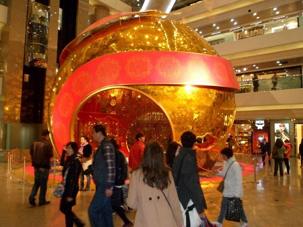 Chinese New Year decorations at shopping mall Causeway Bay Hong Kong