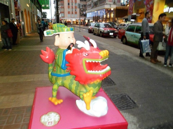 Chinese New Year dragon statue in Causeway Bay Hong Kong