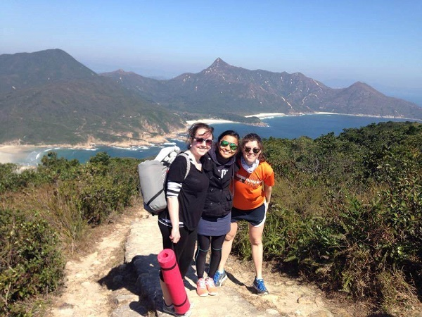 Hikers and view of Tai Long Wan from the MacLehose Trail
