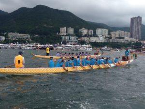 IP Global Dragons Dragon Boat Team paddling out