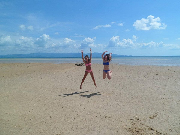 Jumping on the beach on Koh Phangan, in Thailand