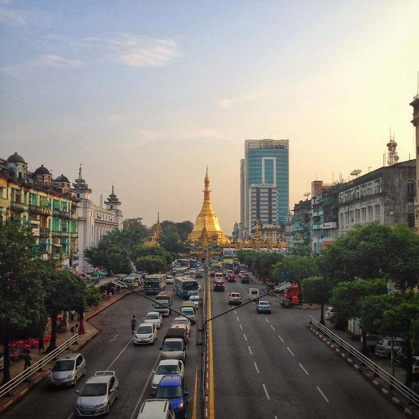 Sule Paya at sunset in Yangon, Myanmar