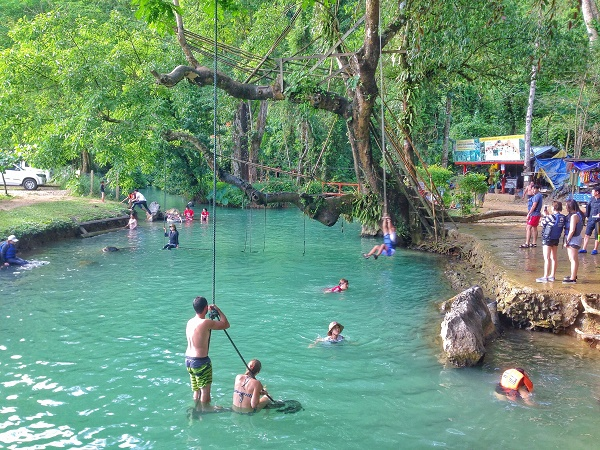Swimming in the Blue Lagoon in Vang Vieng, Laos