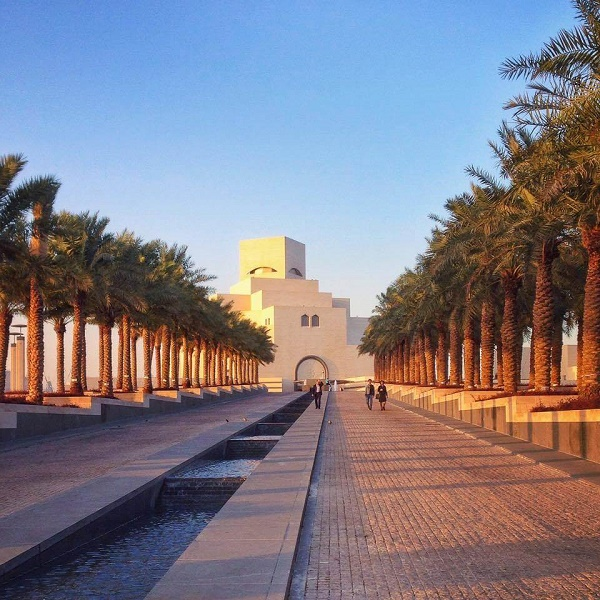 The Museum of Islamic Art in Doha Qatar at sunset