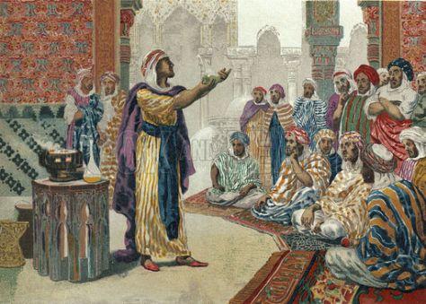 Jabir ibn Hayyan enseñando química en Edesa