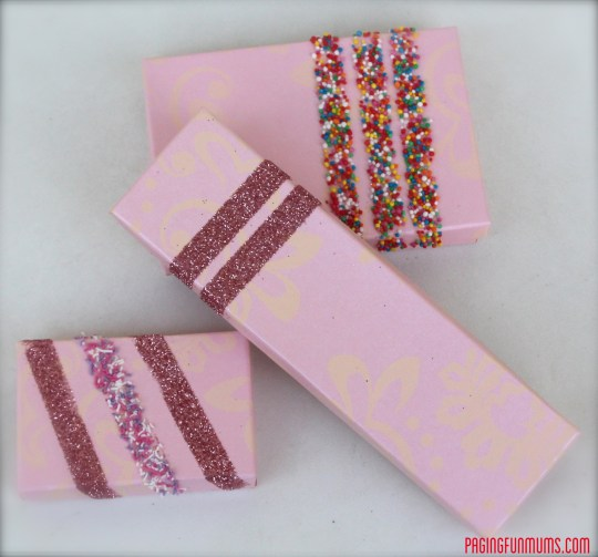Glitter & Sprinkles + Double Sided Tape = FUN Gift Wrapping Idea!