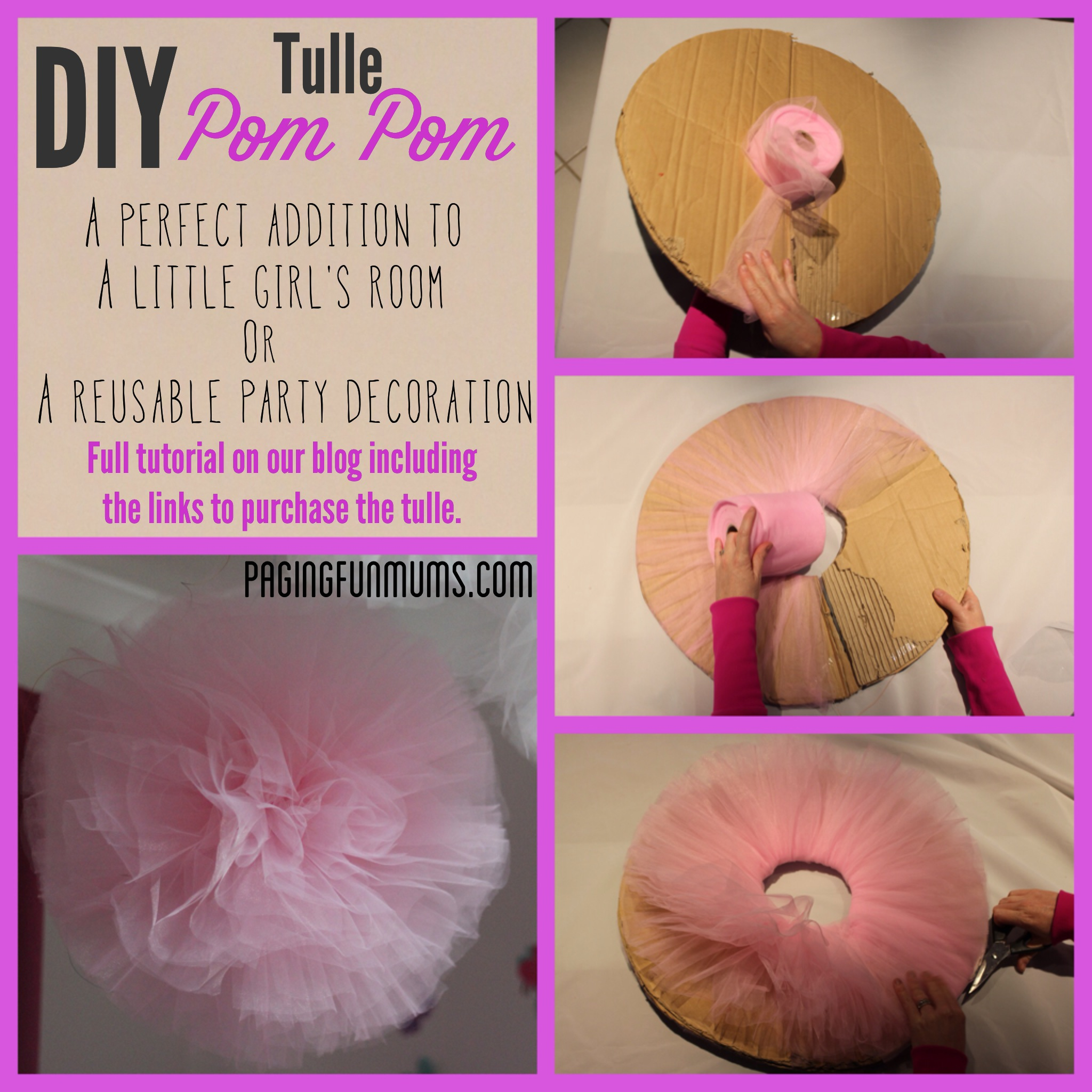 diy tulle pompom perfect party or kids room decoration paging fun mums. Black Bedroom Furniture Sets. Home Design Ideas