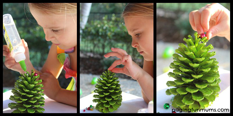 Easy Beaded Pinecone Ornaments