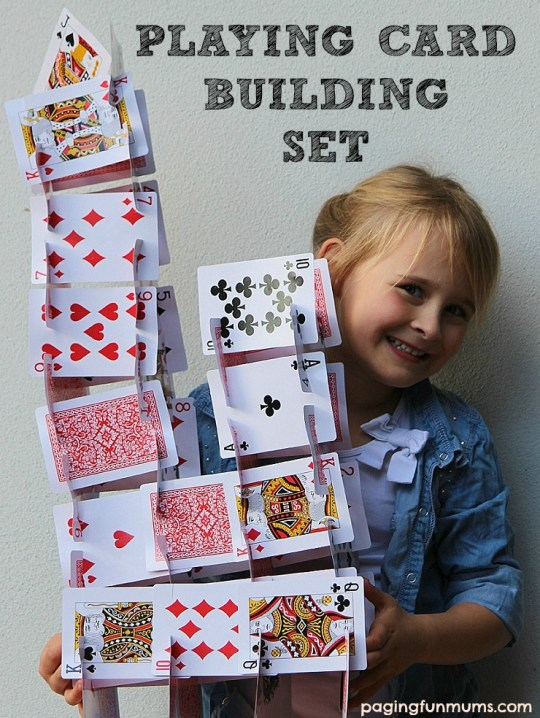 Playing Card Building Set - a simple and FUN activity! From 101 Fun Kids Activities Book