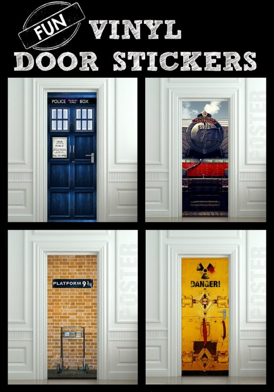 Fun Vinyl Door Stickers - easy to apply and remove!