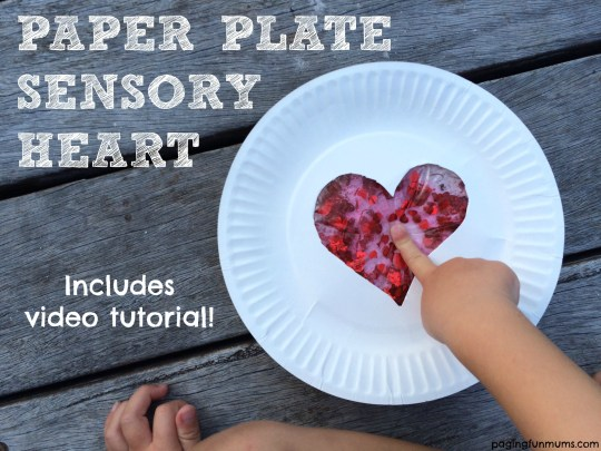 Paper plate sensory heart! What a great idea! Easy video tutorial too!