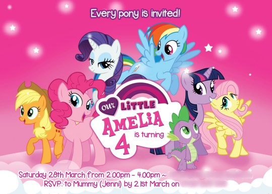 how to host a my little pony party, Party invitations