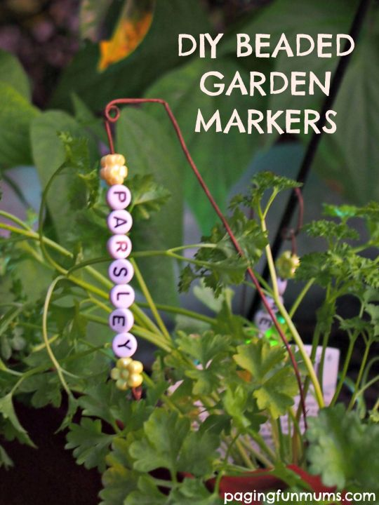 DIY Beaded Garden Markers! Great kid's gardening project!