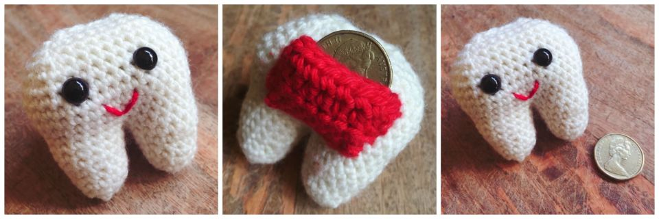 Hand crocheted tooth fairy pouch