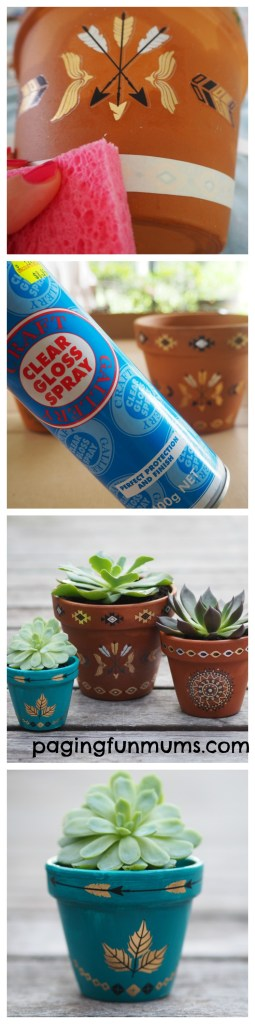 Using Temporary Tattoos to decorate pots! Such a brilliant DIY idea!