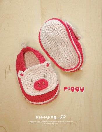 Cute Pig Crochet Slippers