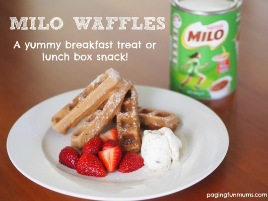 Milo Waffle Recipe - a yummy breakfast treat or handy lunch box filler! We make a double batch and freeze some.
