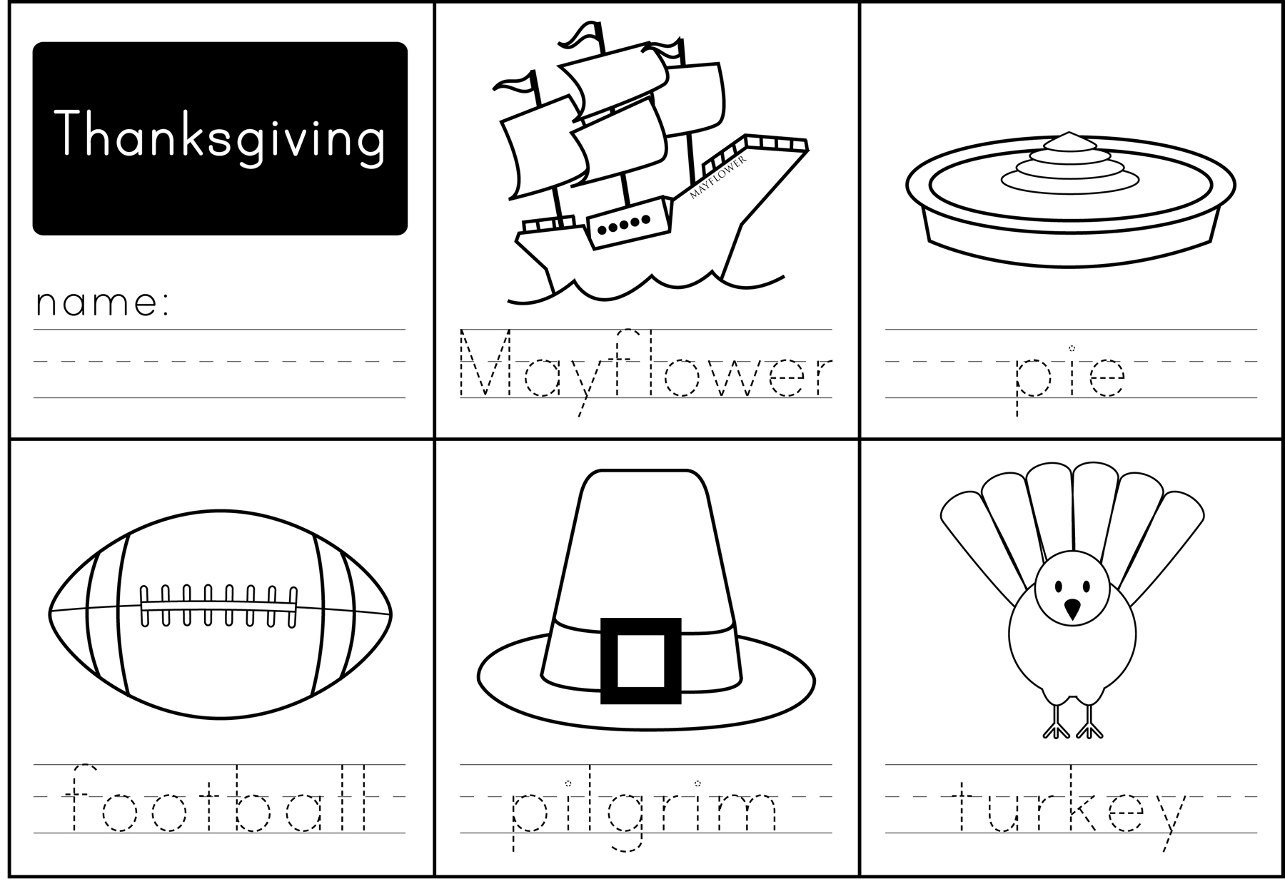 Fun Worksheet For Thanksgiving