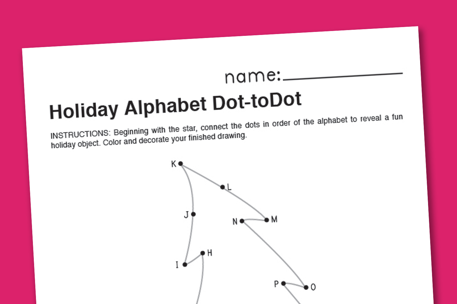 Christmas Alphabet Dot To Dot