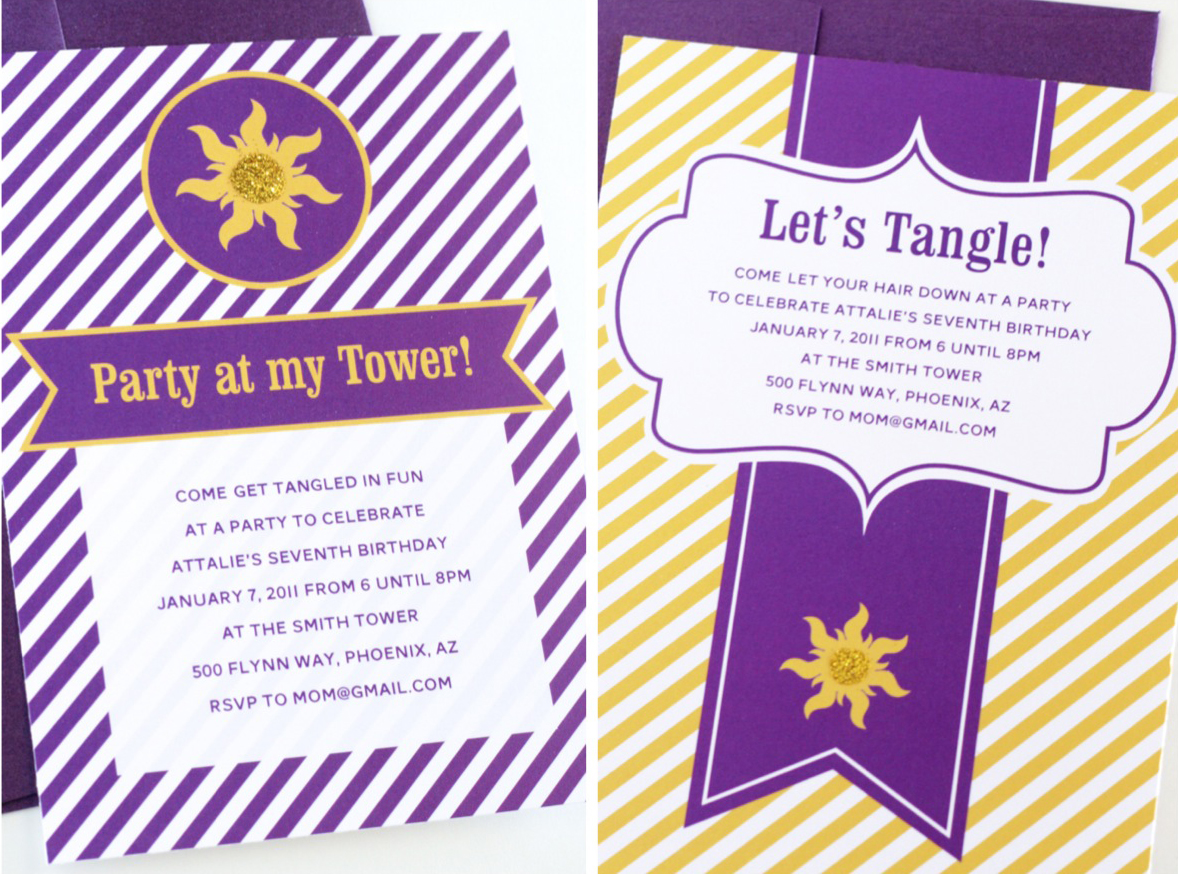 easy tangled party invites paging