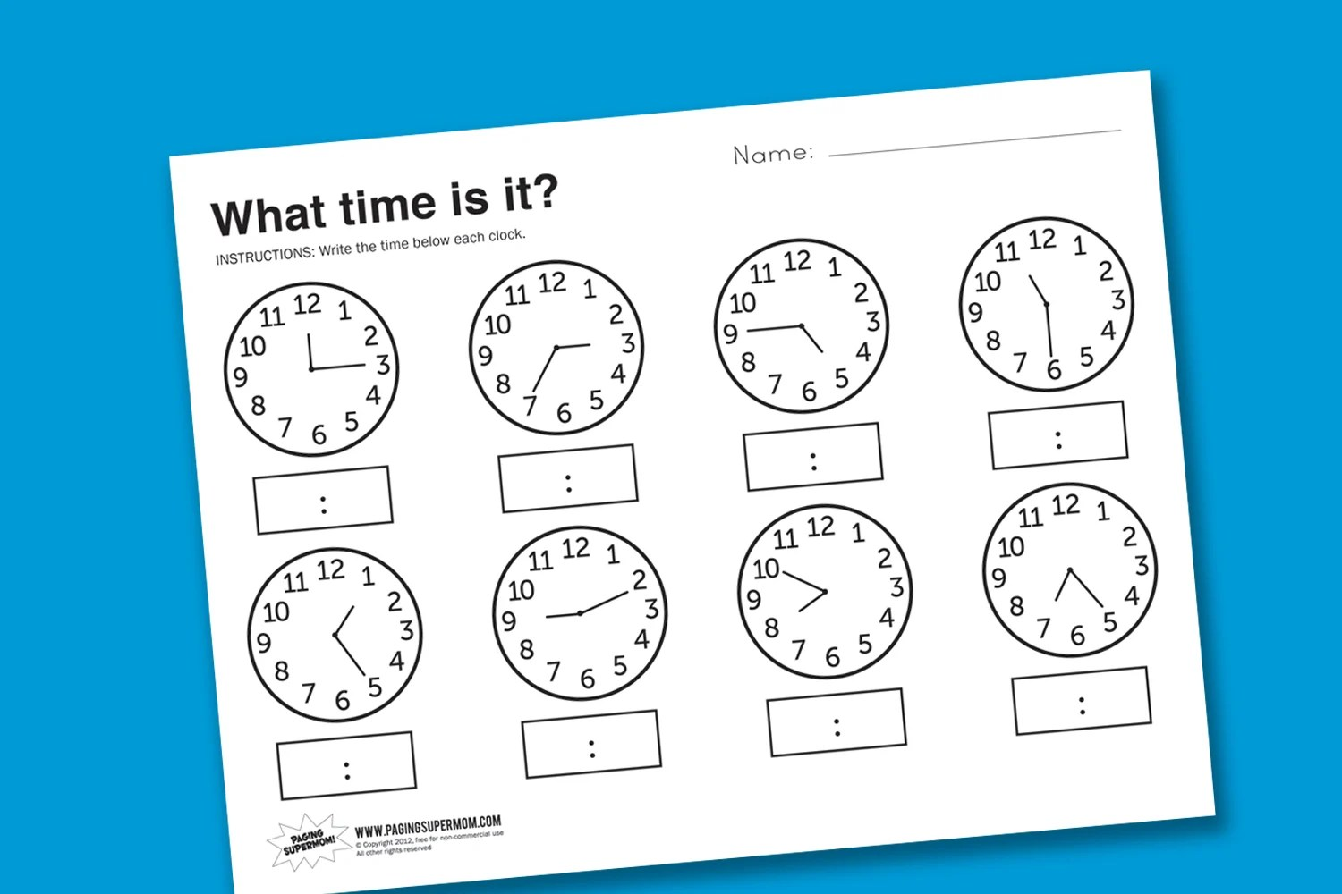 Worksheet About What Time Is It