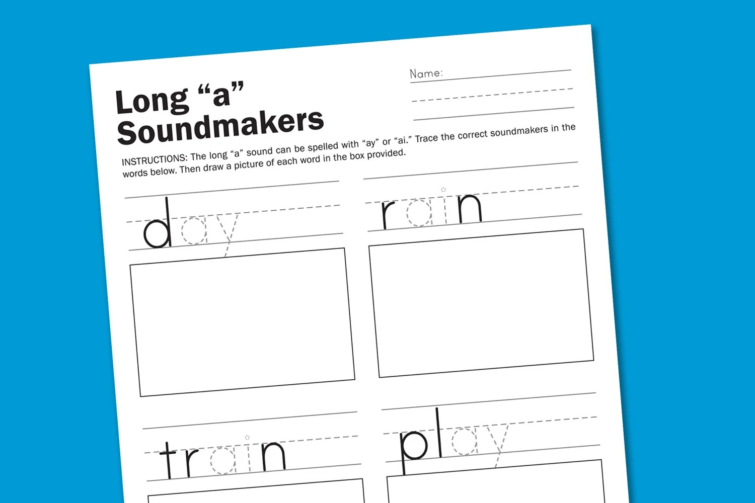 Worksheet Wednesday Long A Sounds