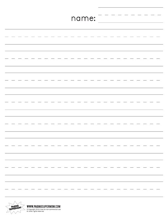 Kindergarten Lined Paper - Paging Supermom
