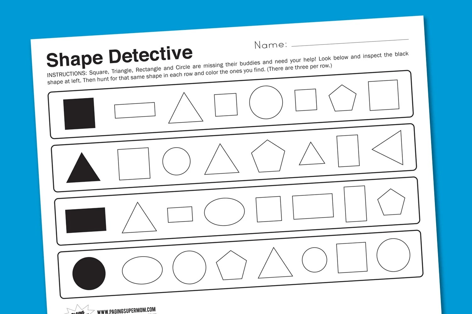 Worksheet Wednesday Shape Detective