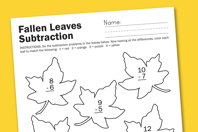 Worksheet Wednesday Fall Leaf Subtraction Paging Supermom
