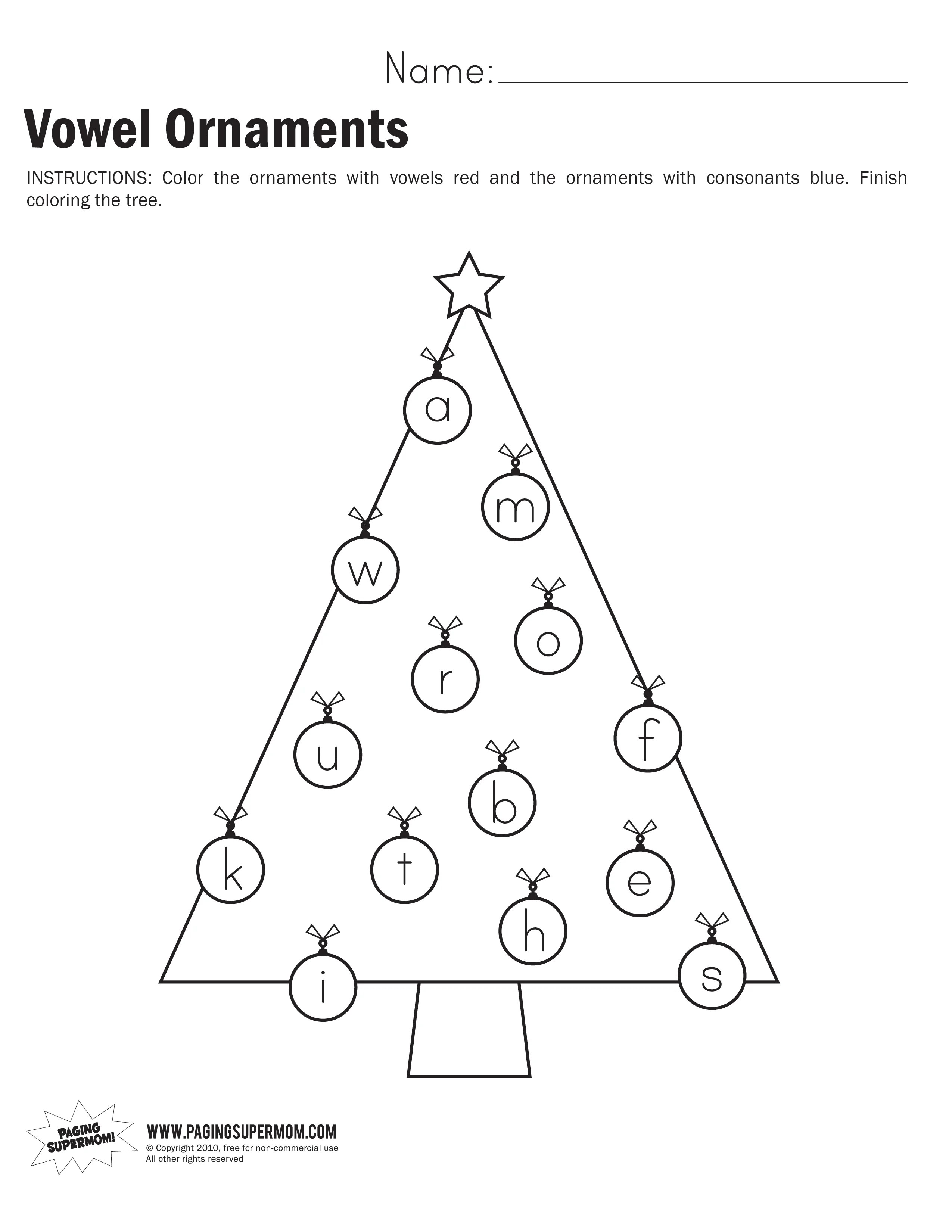 Vowel Ornaments Worksheet