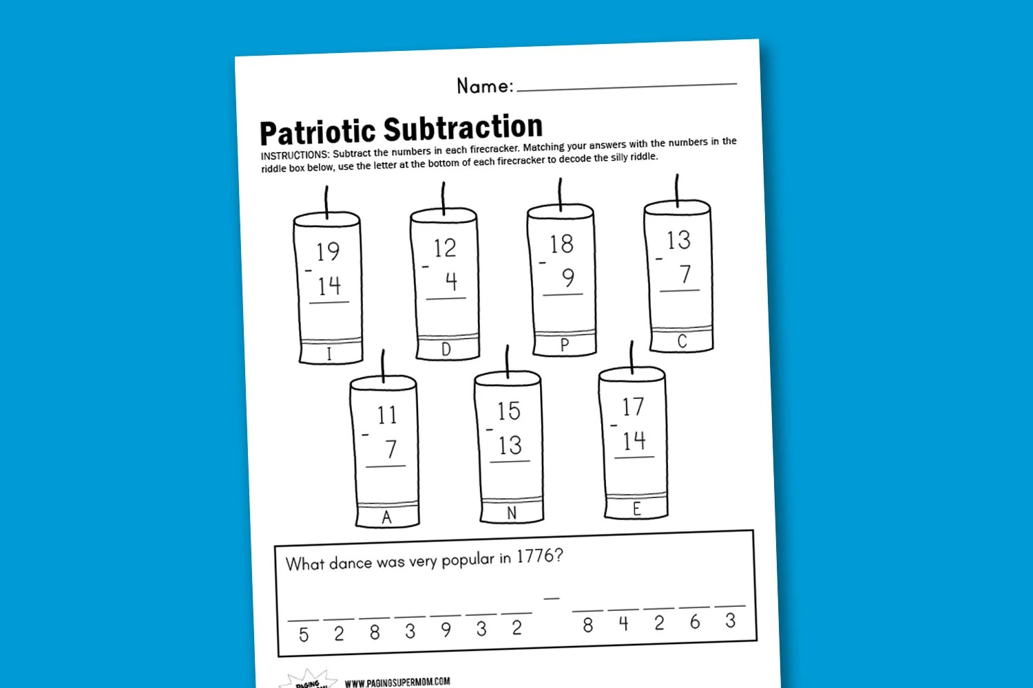 Worksheet Wednesday Patriotic Subtraction
