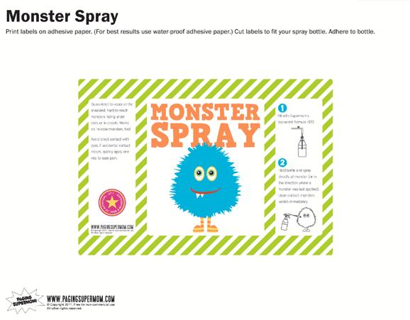 Monster Spray Free Printable Label Blue Paging Supermom
